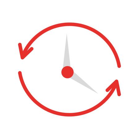 Tijd klok met pijlen pictogram vector illustratie ontwerp