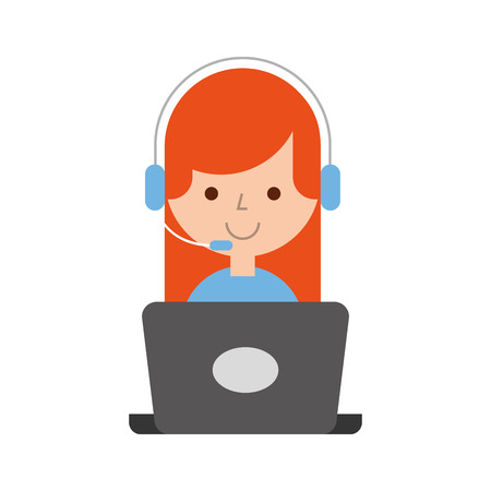 call center agent with laptop avatar vector illustration design 向量圖像