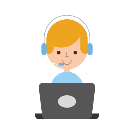 call center agent with laptop avatar vector illustration design Ilustração