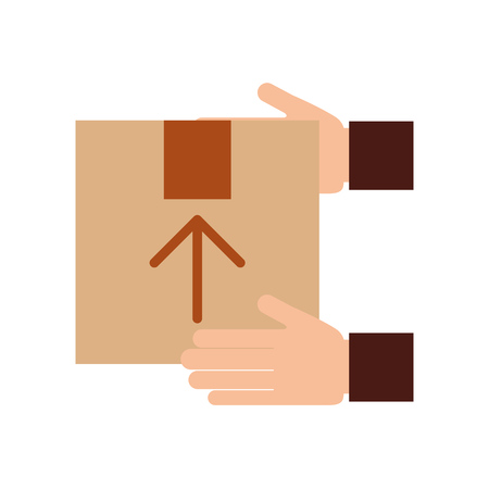 hand human with box carton delivery icon vector illustration design Illustration