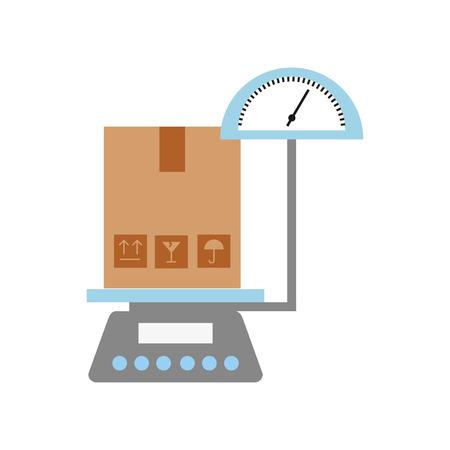 scale with box carton delivery icon vector illustration design Ilustração