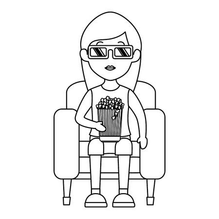 woman on sofa eating popcorn vector illustration design Ilustrace