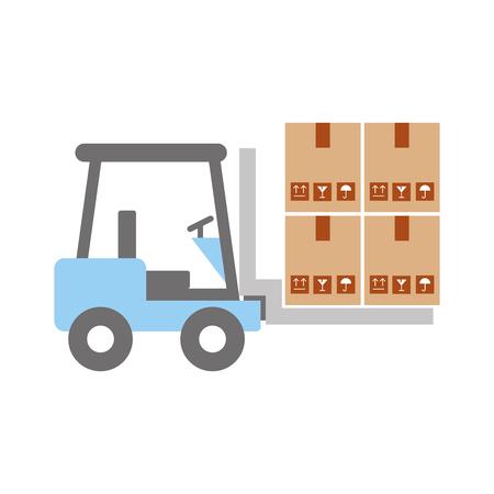 forklift vehicle with boxes vector illustration design Ilustrace