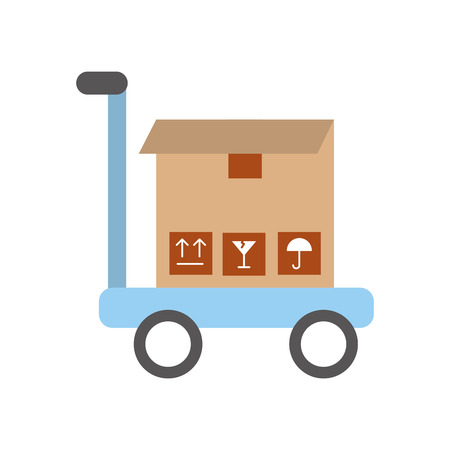 shipments: cart with box carton delivery icon vector illustration design