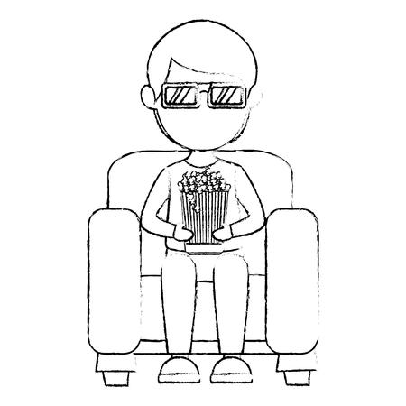 Uomo sul divano che mangia illustrazione vettoriale di progettazione di mais premium Archivio Fotografico - 80795622