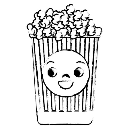 pail: pop corn  character vector illustration design