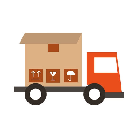 shipments: truck delivery with box service icon vector illustration design