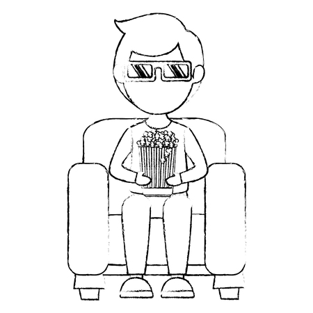 Man on sofa eating pop corn vector illustration design Ilustrace