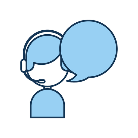 call center agent with speech bubble avatar vector illustration design Ilustração