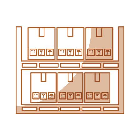pile boxes carton in shelf delivery icon vector illustration design