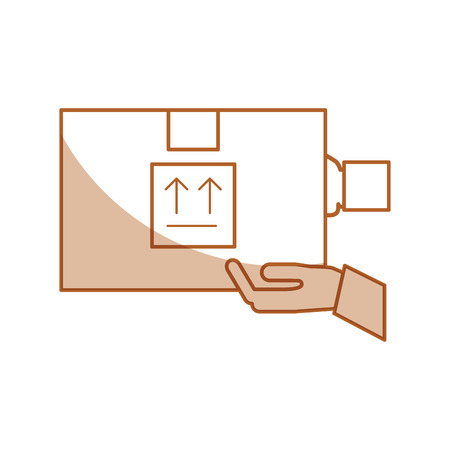 shipments: hand human with box carton delivery icon vector illustration design Illustration