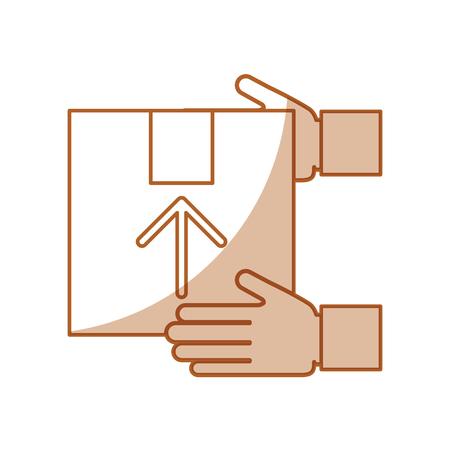 hand human with box carton delivery icon vector illustration design Ilustração