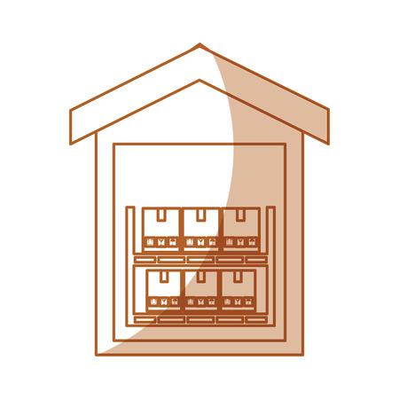 pile boxes carton in warehouse delivery icon vector illustration design Ilustração
