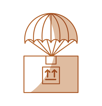 shipments: box carton with parachute delivery icon vector illustration design