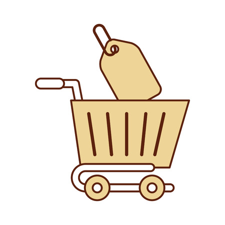 shopping cart with percent tag vector illustration design