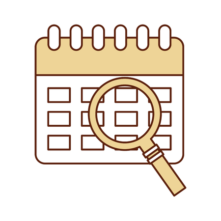 appointing: calendar reminder with magnifying glass vector illustration design