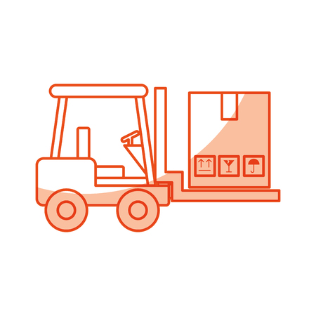 warehouse: forklift vehicle with boxes vector illustration design Illustration
