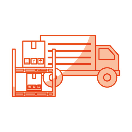 pile boxes carton in shelf with truck delivery icon vector illustration design Illustration