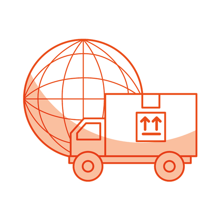 truck delivery with planet service icon vector illustration design Illustration