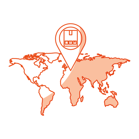 world map with pin location box vector illustration design