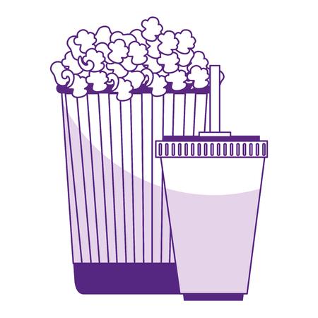 popcorn with soda isolated icon vector illustration design