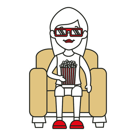 woman on sofa eating pop corn vector illustration design