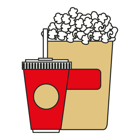 pail: popcorn with soda isolated icon vector illustration design