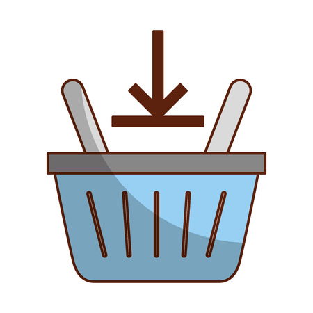 basket shopping with down arrow isolated icon vector illustration design