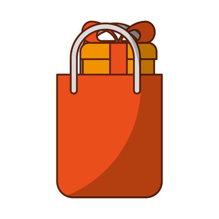 shopping bag with gift vector illustration design