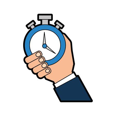 cronometro: Mano humano con cronómetro reloj aislado icono ilustración vectorial diseño