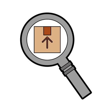 magnifying glass with box carton delivery icon vector illustration design Ilustração