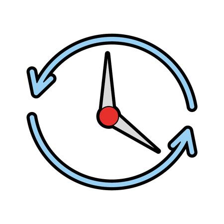 time clock with arrows icon vector illustration design Ilustração