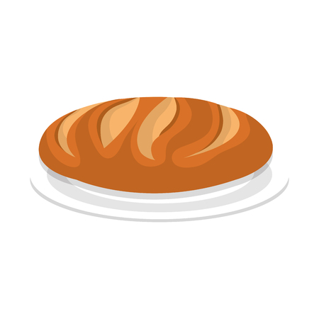 dish with delicious bread isolated icon vector illustration design Çizim