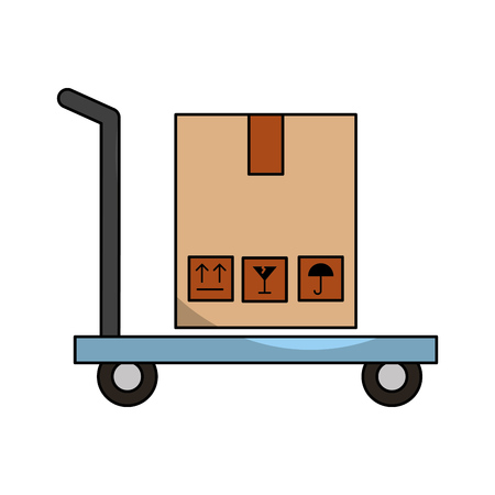 cart with boxes carton delivery icon vector illustration design