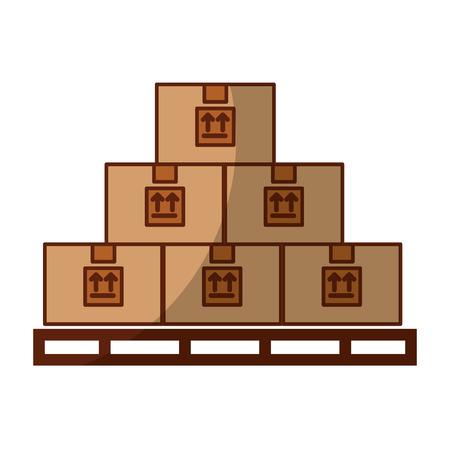 stowages カートン配送アイコン ベクトル イラスト デザインのボックスを積み重ねる