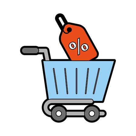 Carro de compras con diseño de ilustración de vector de etiqueta de porcentaje Foto de archivo - 80799380