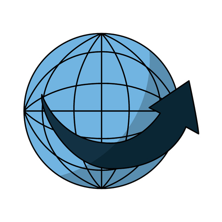 pictograph: sphere planet with arrow around vector illustration design