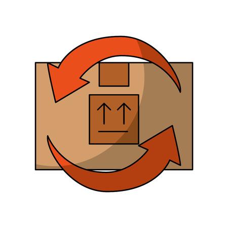 box carton with arrows delivery icon vector illustration design