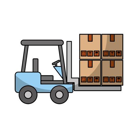 forklift vehicle with boxes vector illustration design 向量圖像