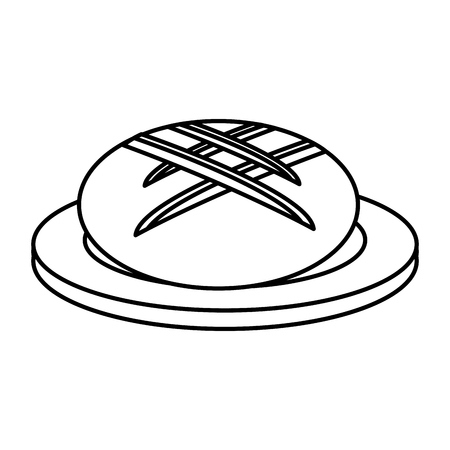 dish with delicious bread isolated icon vector illustration design Illustration