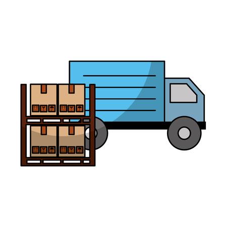 pile boxes carton in shelf with truck delivery icon vector illustration design Ilustração