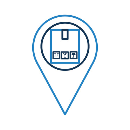 pin location with box carton delivery icon vector illustration design Ilustração
