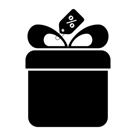giftbox present with percent tag vector illustration design Illustration