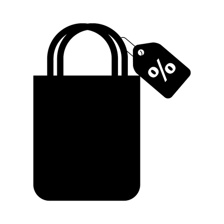 shopping bag with percent symbol vector illustration design