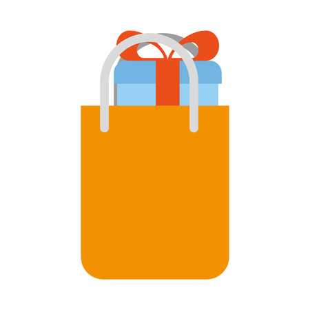 shopping bag with gift vector illustration design