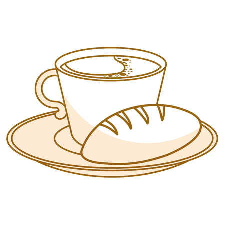 dish with delicious bread and coffee cup vector illustration design Illustration
