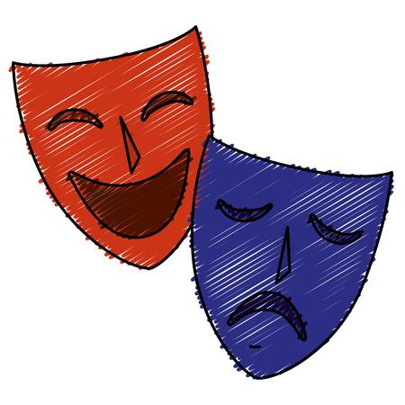 theater maskers geïsoleerd pictogram vector illustratie ontwerp