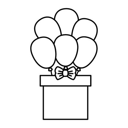 birthday party: giftbox present with ballons air isolated icon vector illustration design