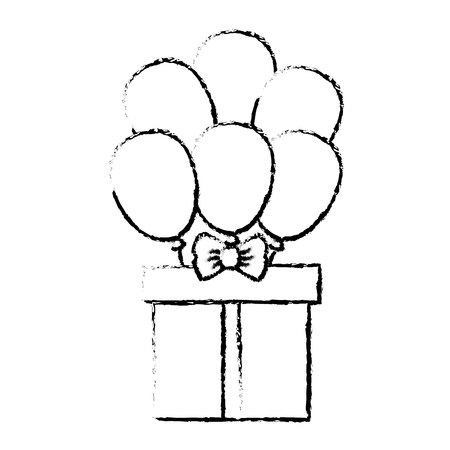 give: giftbox present with ballons air isolated icon vector illustration design