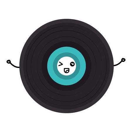 vinyl disk  character vector illustration design